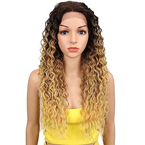 Joedir Lace Front Wigs Ombre Blonde 24 Long Small Curly Wavy Synthetic Wigs For Black Women 130% Density Wigs(TAT6/27/24E)