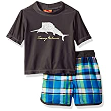 Tommy Bahama baby-boys Baby Plaid Swim Short Rash Guard Set