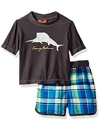 Tommy Bahama baby-boys Baby Plaid Swim Short Rash Guard Set