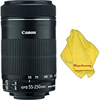 Canon 55-250mm IS STM Lens + MEGAACC Microfiber Cloth