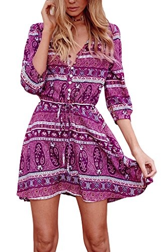 COMVIP - Vestido - Camisa - Floral - para mujer Rosa