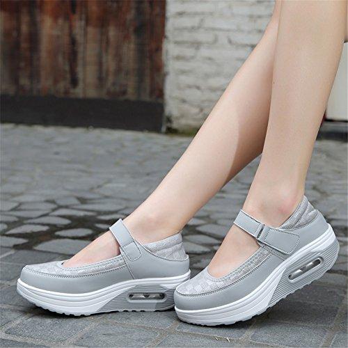 Fall Spring redonda Sneakers Summer punta mujer Zapatos Tulle SHINIK Hebilla Heel Wedge ligera UN de Casual Suela Comfort para qHwvYI