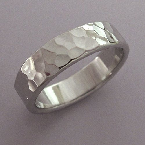 Hammered Palladium 950 Wedding Ring with Polished or Matte Finish, Various Widths ()