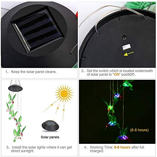 ZOUTOG Solar String Lights, Color Changing LED Mobile Hummingbird Wind Chimes, Waterproof Outdoor Solar Lights for Home/Yard/Patio/Garden by ZOUTOG (Image #5)