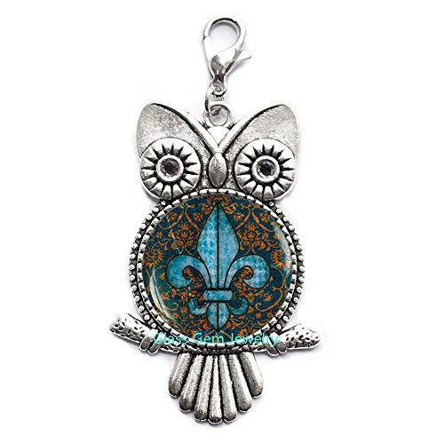Fleur de lis Lobster Clasp, Fleur de lis Owl Zipper Pull, Fleur de lis Jewelry, Heraldry Jewelry Royal Heraldic Sign,Q0068 (Fleur De Lis Zipper Pull)