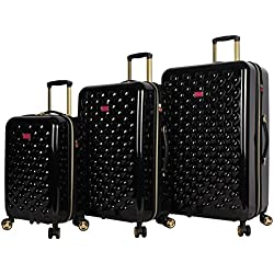 """Betsey Johnson Luggage Hardside 3 Piece Set Suitcase With Spinner Wheels (20"""" 26"""" 30"""") (One Size, Heart to Heart Black)"""