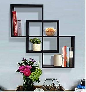 shelving solution quadrate decorative wall shelf black