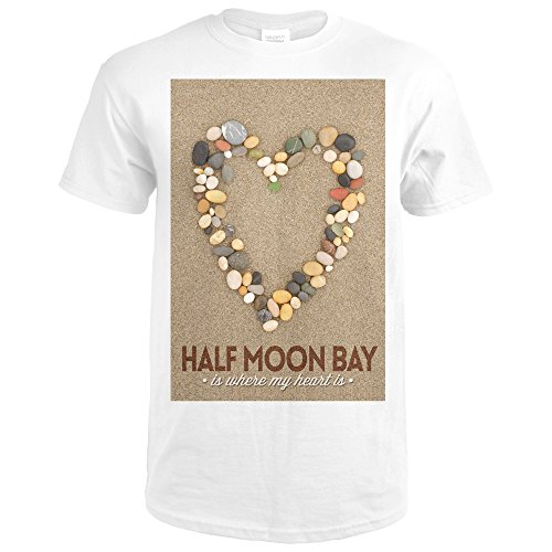 Half Moon Bay, California Is Where My Heart Is - Stone Heart on Sand (Premium White T-Shirt - Is Park Where Bay