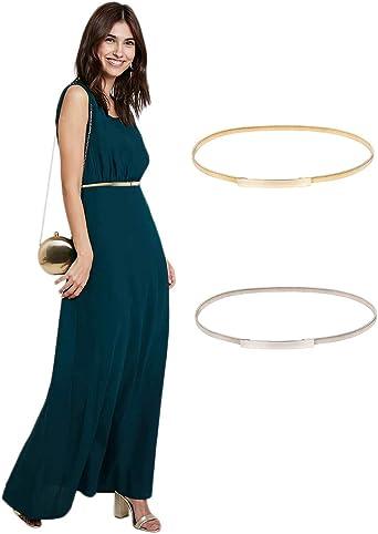 GRACE KARIN Women Skinny Metal Cinch Belt Gold Waistband Elastic Waist Belt CL633
