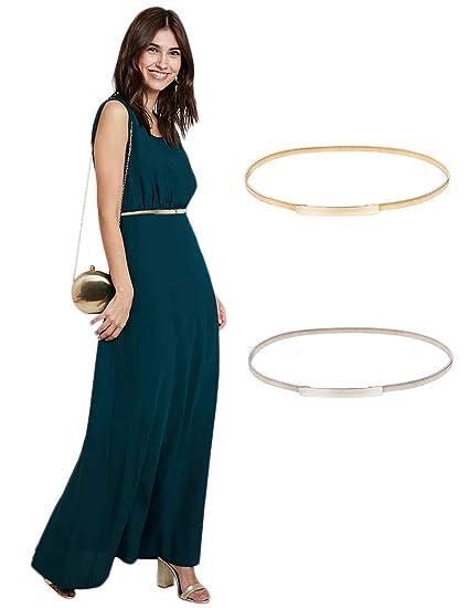 f2c1d0a00bf5 GRACE KARIN Women Skinny Metal Cinch Belt Gold Waistband Elastic ...