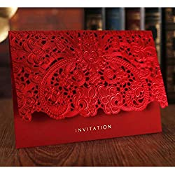 WOMHOPE 50 Pcs - Classic Red Color Laser Cut Lace Card Wedding Invitation Party Folding Invitations Cards Birthday Invitations Cards Wedding Favors (C)