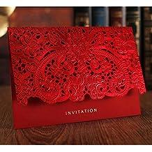 WOMHOPE 50 Pcs - Elegance Lace Emboss Laser Cut Card Wedding Invitation Party Folding Invitations Cards Birthday Invitations Cards Wedding Favors Party Favors (Red (Set of 50 pcs))