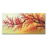 Konda Art -Framed 100% Handmade Flower Art Chinese Style Red Cherry Blossom Paintings Canvas Decorations Gift for Living Room Ready To Hang (48''W x 24''H)