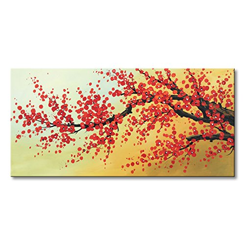 Konda Art -Framed 100% Handmade Art Red Plum Blossom Paintings for Wall Flower Canvas Art Gift For Living Room Reday To Hang (60''W x 30''H) by Konda Art