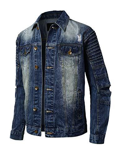 URBANCREWS Mens Hipster Button Down Long Sleeve Biker Denim Jacket DarkVintage M