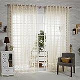 "R.LANG Solid Grommet Top Square Lattice Living Room sheer Curtain 1 Pair Beige 46""W X 72"" L"