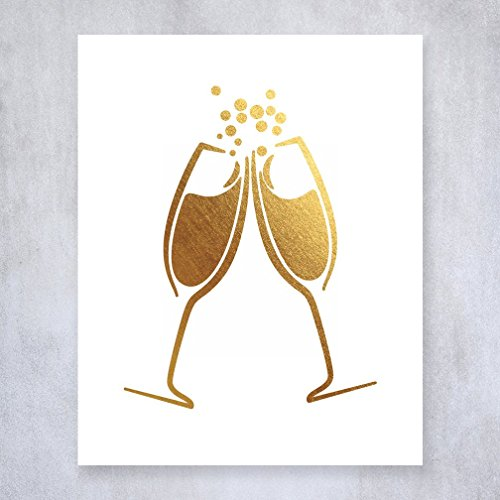 Champagne Toast Gold Foil Art Print Bar Cart Sign Drinks Party Decor Clinking Champagne Small Poster 5 inches x 7 inches A15