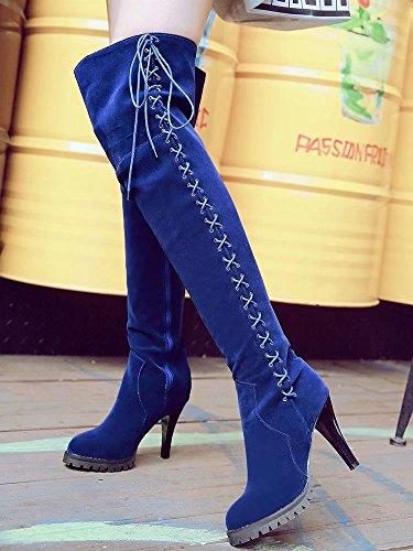 Aiyoumei Femmes Côté Fermeture À Glissière Mince Talon Automne Hiver Sur Les Genoux Bottes Avec Lacet Bleu