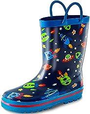 K KomForme Kids Rain Boots for Girls Boys Rubber Printed Rainboots with Handles (Toddler/Little Kid/Big Kid)