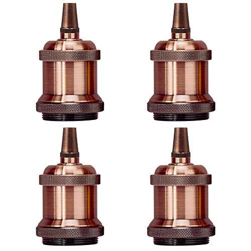 (Light Socket Copper E26 Vintage Pendent Lamp Holder Replacement Keyless Edison DIY Lamps Ceramic Standard Medimun Screw Base with Metal Threaded Cord Grip by UPIDLighting)