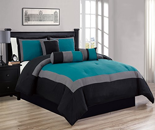 7 Piece Oversize TEAL BLUE / BLACK / GREY Color Block Comforter set 90