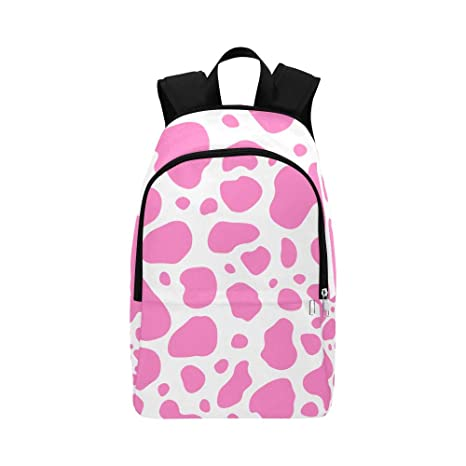 Amazon.com  Cow Pink and White Animal Spot Skin Casual Daypack ... 95a09ff2bff3b