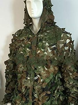 Mitef Ghillie Costumes Respirant Feuilles Camouflage V/êtements en Plein Air Arm/ée Militaire Camo V/êtements 3 Pi/èces Ensembles