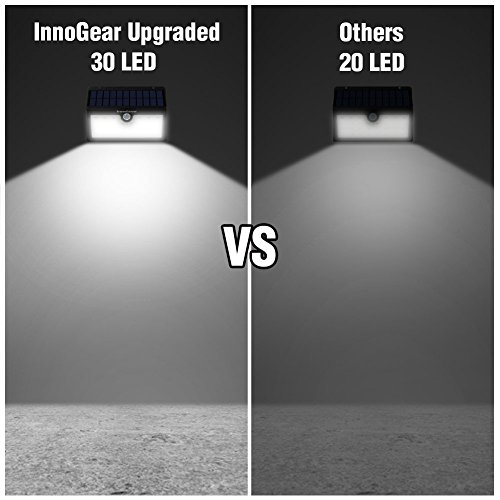 InnoGear Upgraded Solar Lights 30 LED Wall Light Outdoor Security Lighting Nightlight with Motion Sensor Detector for Garden Back Door Step Stair Fence Deck Yard Driveway, Pack of 4 by InnoGear (Image #1)