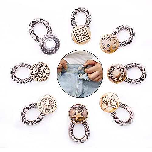 AXEN 8 Pieces Button Waisitband Extender Elastic Spring Stainless Steel Extender Bottons for Denim Jeans Trousers Pants Shirts Collars, Style 2