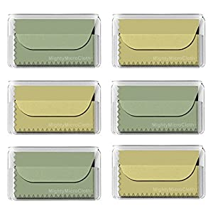 "MightyMicroCloth Microfiber Eyeglass Cleaning Cloths – Vinyl Travel Pouch – Lens Cleaner for Glasses, Camera Lenses, Tablets, Phone Screens, & Electronics – 6 Pack Green/Yellow (6""x7"")"
