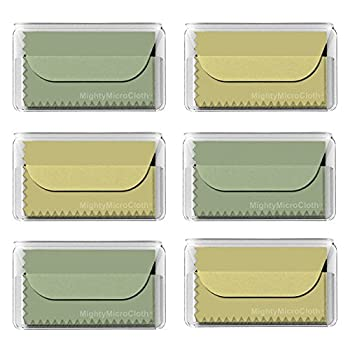 "MightyMicroCloth Premium Microfiber Cleaning Cloths – (6pack) each in a Travel Pouch for Eyeglasses, Computer Screens, Sunglasses, Lens, iPads, iPhones, Cameras, LCD TV – 7"" x 6"" (3 Green, 3 Yellow)"