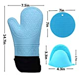 Extra Long Professional Silicone Oven Mitt with 2