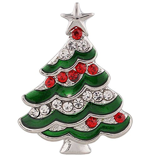 Chunk Snap Charm Christmas Tree Red and Green Rhinestones 20 mm 3/4