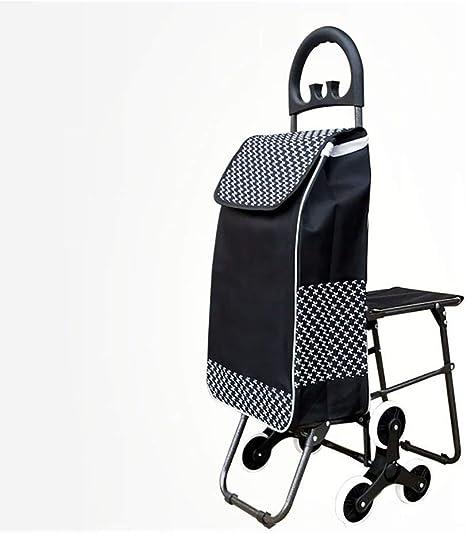 Carrito de compras Carro de la compra Escalera para carros Escalera plegable Supermercado portátil con asiento