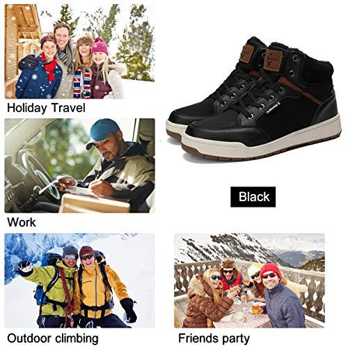 A8472 nero Pelliccia Sportive Scarpe Caviglia Uomo Stivaletti Piatto Caloroso Stivali Allineato Escursionismo Da Abtop Boots Neve Invernali Onk80Pw