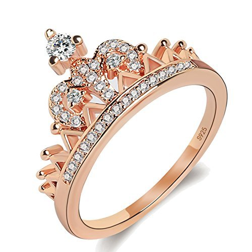 Similanka Women's Crown Tiara Rings Exquisite 18K Rose Gold Plated Princess Tiny CZ Diamond Accented Promise Rings for Her Size 5-10 (Rose Gold, ()
