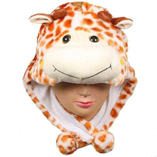 Giraffe_New_Warm Cap Earmuff Gift Cartoon Animal Hat Fluffy Plush Cap - Unisex (US - Bloc Sunglasses Polarized