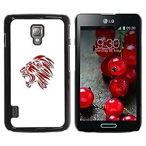 Caucho caso de Shell duro de la cubierta de accesorios de protección BY RAYDREAMMM - LG Optimus L7 II P710 / L7X P714 - Red Yawn Roar Minimalist Decal Art