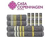 CASA COPENHAGEN Edition 2019 Exotic Cotton 475 GSM 12 Pieces Designer Bath, Hand & Washcloth Towels Gift Set - Wild Dove - Yellow Stripes