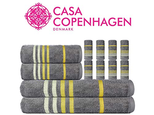 CASA COPENHAGEN Edition 2019 Exotic Cotton 475 GSM 12 Pieces Designer Bath, Hand & Washcloth Towels Gift Set - Wild Dove - Yellow Stripes by CASA COPENHAGEN (Image #1)