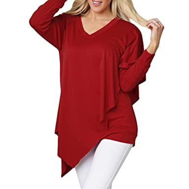 f5104982e9ff ENIDMIL Women's Casual Loose Long Sleeve Blouse Irregular Top V Neck T-Shirt  at Amazon Women's Clothing store: