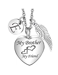 Cremation Urn Necklace My Brother My Friend Angel Wing Charms 26 Initial Letter Alphabet Memorial Keepsake Pendant Ash Jewelry