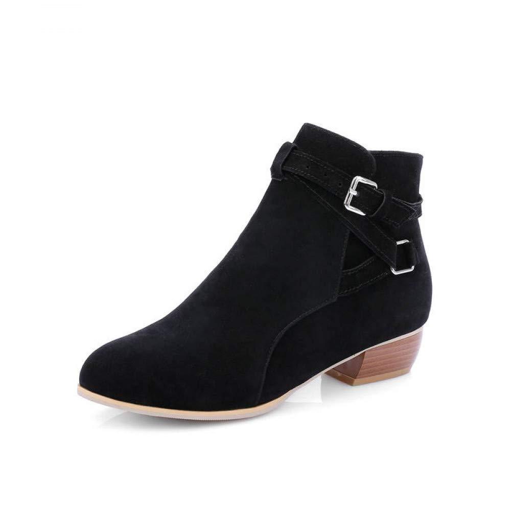 PINGXIANNV Runder Ankle Stiefel Für Frauen Schnalle Herbst Winter Stiefel Farbe Square Heels Schuhe Frau