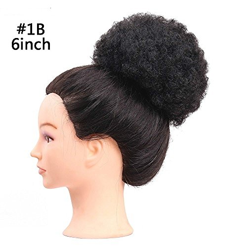 Fluffy Afro Kinky Curly Chignons Updo Hair Bun Synthetic Cozy Ponytail Puff Donut Chignon Wig With Two Plastic Combs Short Wedding Hairstyles Updo 6 or 8inch (6INCH, 1B) by Reyen