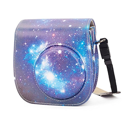 Phetium Soft PU Leather Protective Case with Shoulder Strap and Pocket for Fujifilm Instax Mini 8 8+ Mini 9 Instant Camera (Starry Sky)