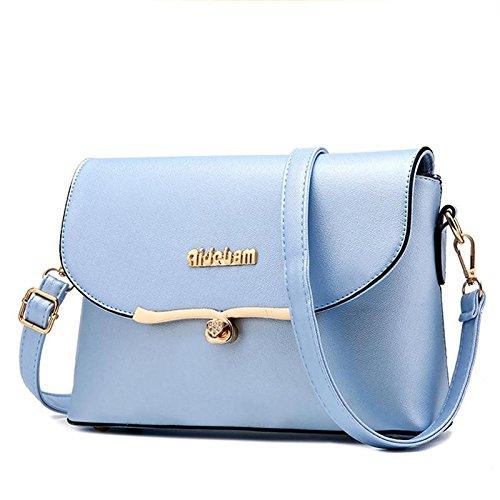 LDMB Bolsos para mujer Corea PU cuero cruzada cuerpo plazoleta paquete mujeres bolsos bandolera Messenger , pink days blue