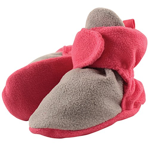 Luvable Friends Baby Cozy Fleece Booties, Gray/Pink, 6-12 Months