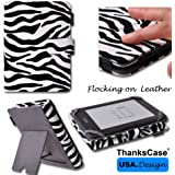 Amazon 2013 All New Kindle Paperwhite Zebra Stripe Flocking Leather Case Cover with Smart Cover Function with Standing Function for Kindle Touch and Kindle 4th By Thankscase