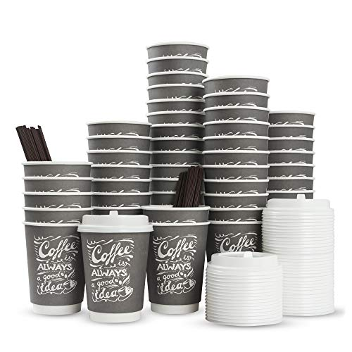 To Go Disposable Hot Coffee Cups with Lids & Stirrers | 12oz 50pcs Pack Double Wall, Recyclable, Insulated | No Sleeves Need | Takeaway Paper Cups for Hot Drinks -
