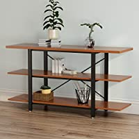 "LITTLE TREE Black Metal Frame 3-tier Console Table Bookcase Bookshelf, 59""x15.74""x29.53"", Cherry"
